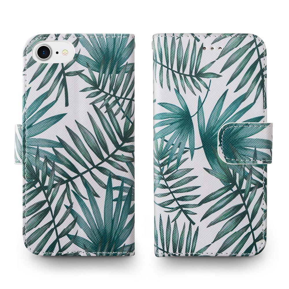 - Palm Leaves Printed Wallet with Matching Detachable Slim Case and Wristlet, White/Green for Apple iPhone 6/iPhone 6s/iPhone 7/iPhone 8