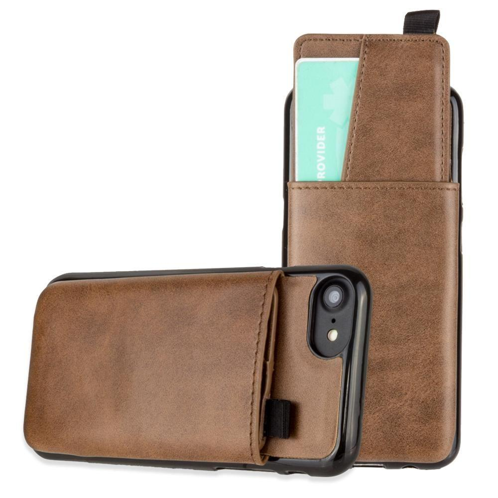 - Vegan Leather Case with Pull-Out Card Slot Organizer, Brown for Apple iPhone 6/iPhone 6s/iPhone 7/iPhone 8