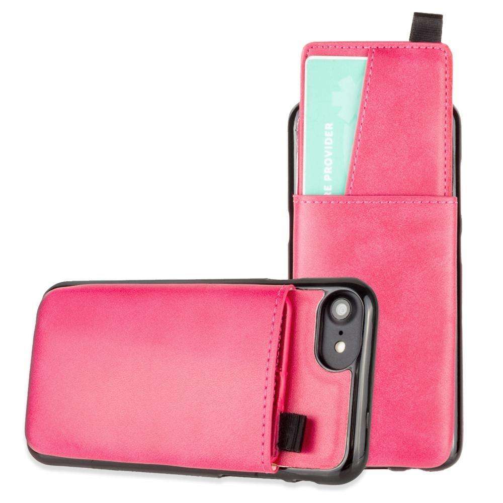 - Vegan Leather Case with Pull-Out Card Slot Organizer, Hot Pink for Apple iPhone 6/iPhone 6s/iPhone 7/iPhone 8