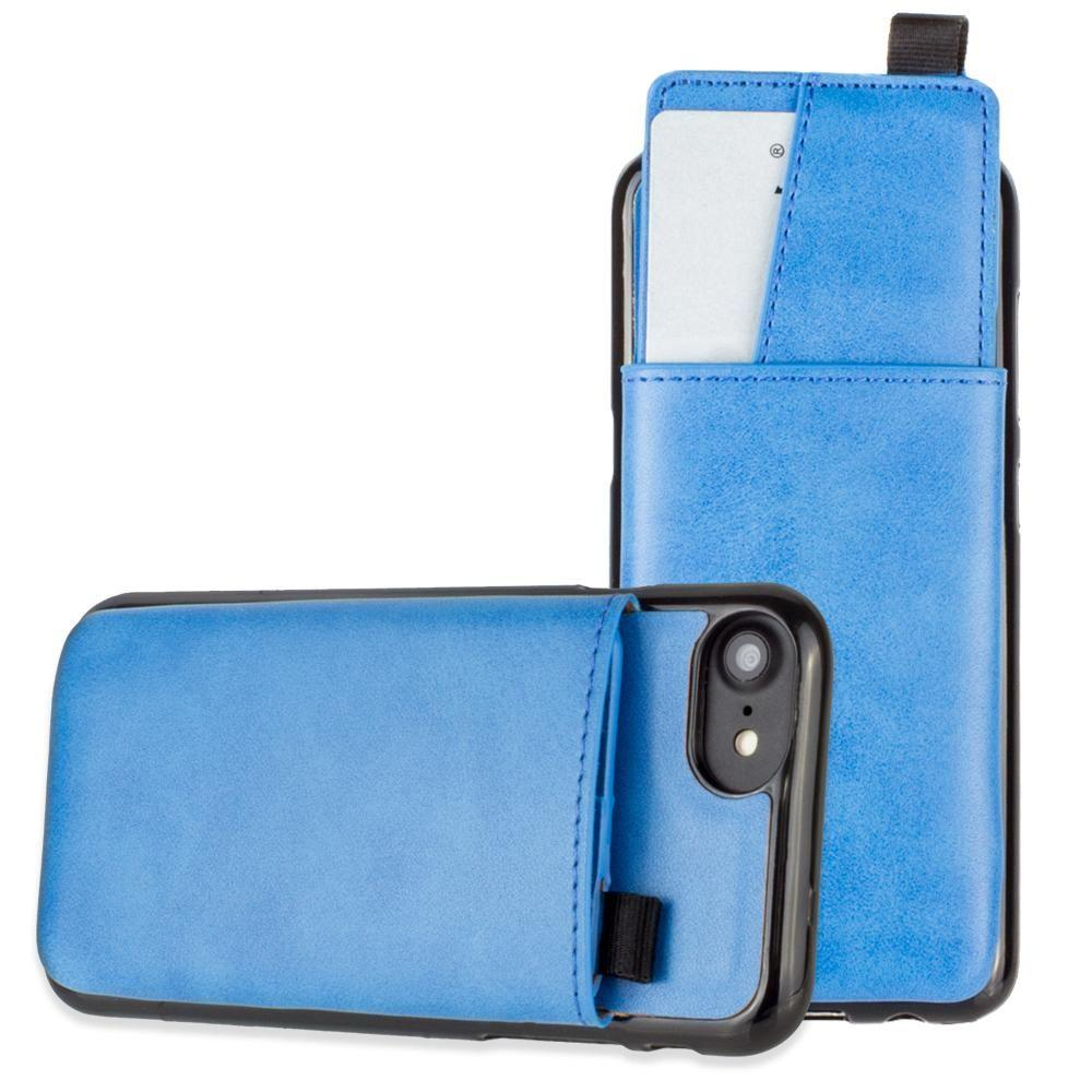 - Vegan Leather Case with Pull-Out Card Slot Organizer, Blue for Apple iPhone 6/iPhone 6s/iPhone 7/iPhone 8