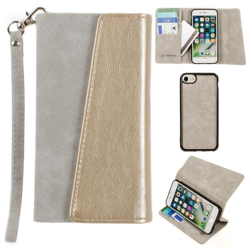 Apple Iphone 6 - UltraSuede Metallic Color Block Flap Wallet with Matching detachable Case and strap, Gray/Gold for Apple iPhone 6/iPhone 6s/iPhone 7/iPhone 8