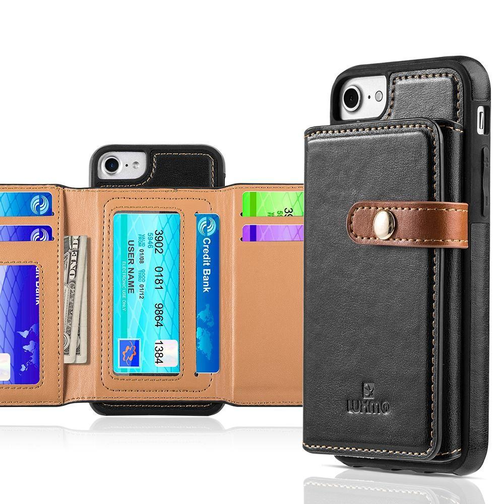 - Vegan Leather Case with Stitched-on Tri-fold Wallet, Black/Brown for Apple iPhone 6/iPhone 6s/iPhone 7/iPhone 8