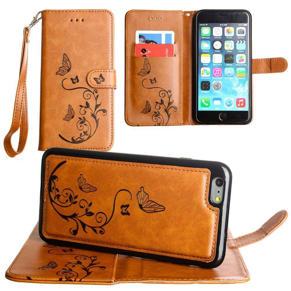 - Embossed Butterfly Design Wallet Case with Detachable Matching Case and Wristlet, Brown for Apple iPhone 6 Plus/iPhone 6s Plus/iPhone 7 Plus/iPhone 8 Plus