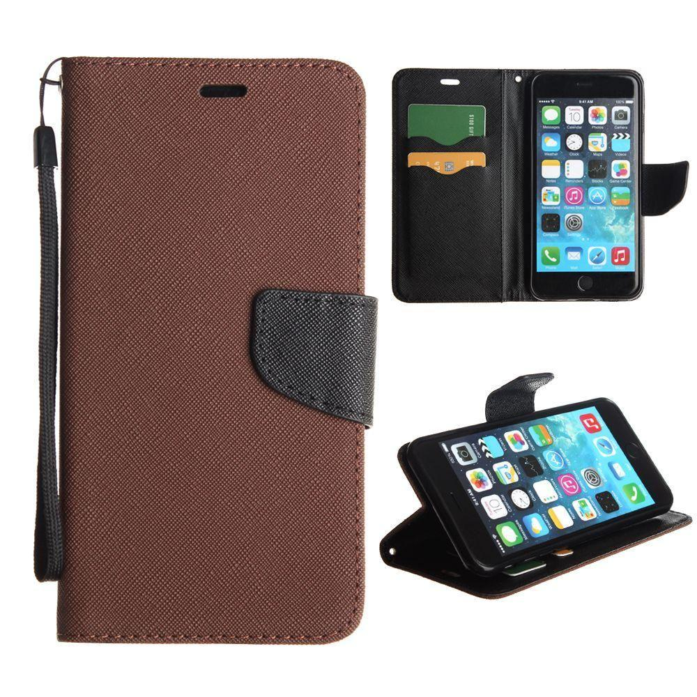 - Premium 2 Tone Leather Folding Wallet Case, Brown/Black for Apple iPhone 6 Plus/iPhone 6s Plus