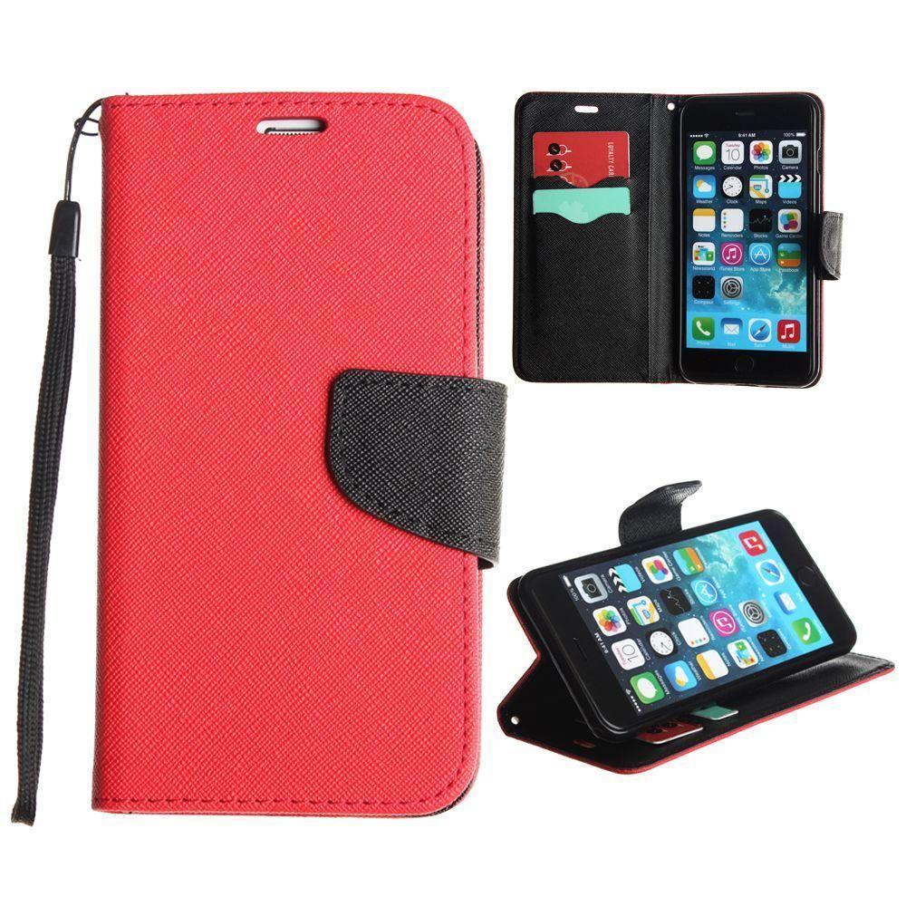 - Premium 2 Tone Leather Folding Wallet Case, Red/Black for Apple iPhone 6 Plus/iPhone 6s Plus