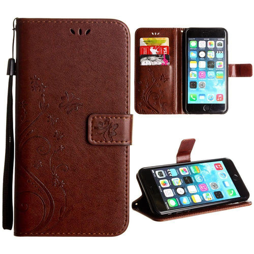 Apple Iphone 8 Plus - Embossed Butterfly Design Leather Folding Wallet Case with Wristlet, Coffee for Apple iPhone 6 Plus/iPhone 6s Plus/iPhone 7 Plus/iPhone 8 Plus