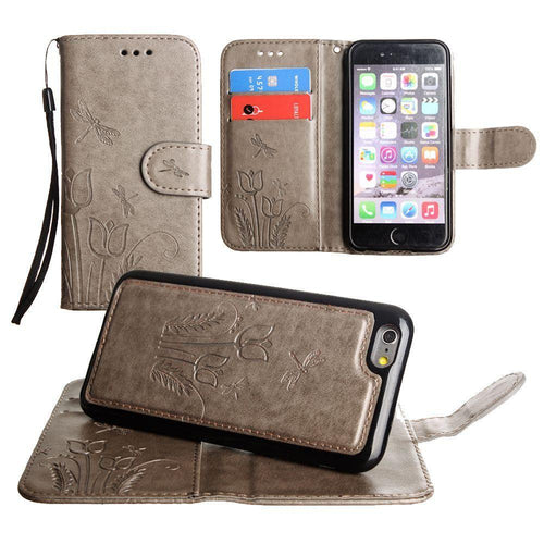 Apple Iphone 8 Plus - Embossed dragonfly over tulip design wallet case with Matching detachable magnetic case and wristlet, Gray for Apple iPhone 6 Plus/iPhone 6s Plus/iPhone 7 Plus/iPhone 8 Plus