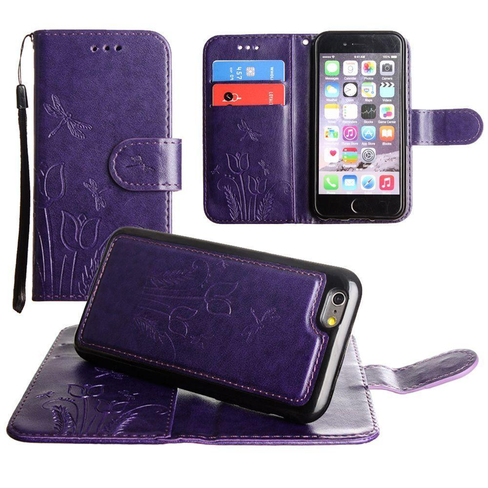 - Embossed dragonfly over tulip design wallet case with Matching detachable magnetic case and wristlet, Purple for Apple iPhone 6 Plus/iPhone 6s Plus/iPhone 7 Plus/iPhone 8 Plus