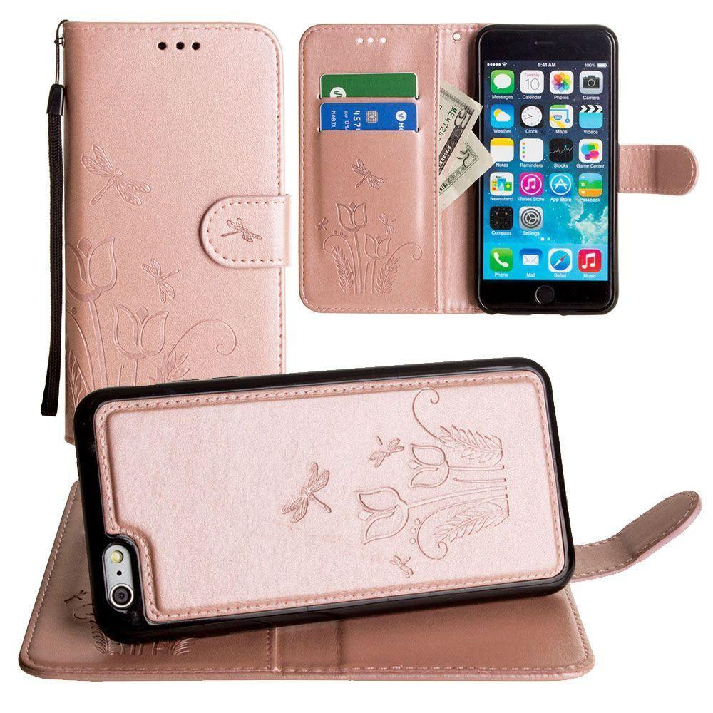 - Embossed dragonfly over tulip design wallet case with Matching detachable magnetic case and wristlet, Rose Gold for Apple iPhone 6 Plus/iPhone 6s Plus/iPhone 7 Plus/iPhone 8 Plus