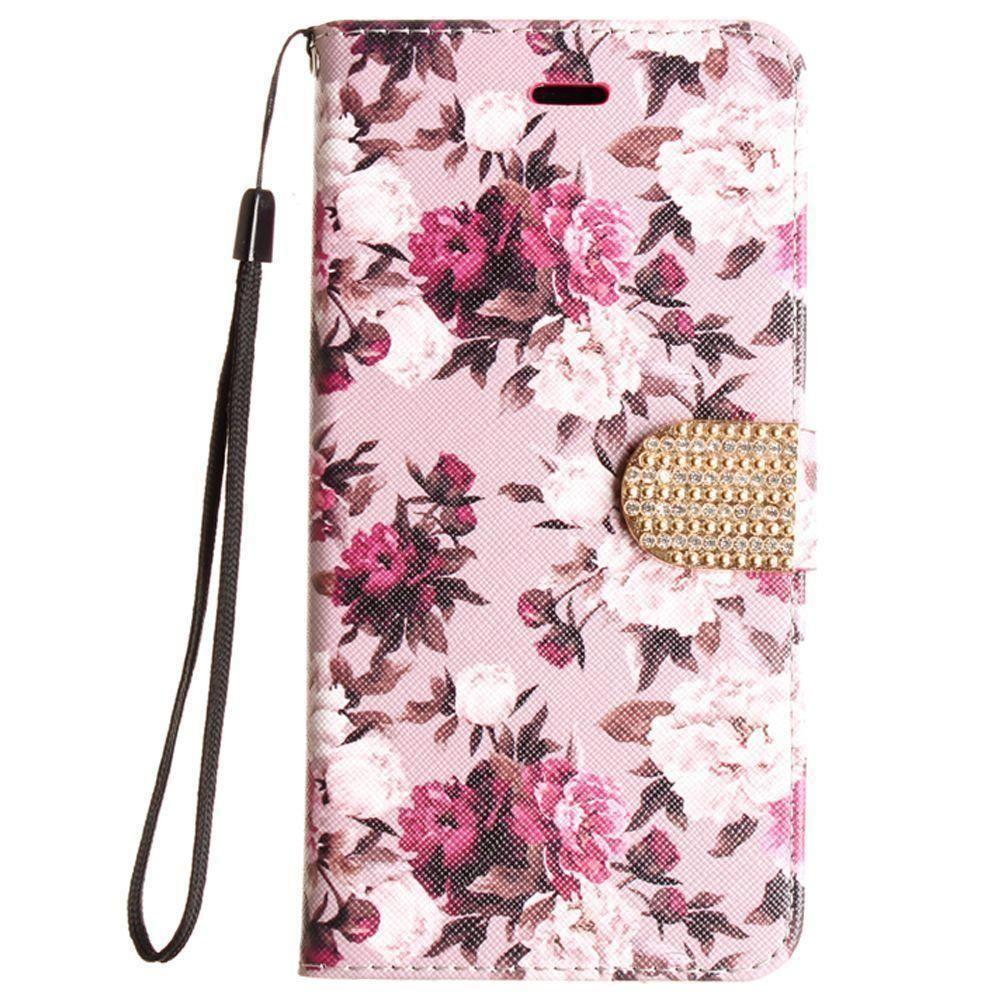 - Romantic Rose Shimmering Folding Phone Wallet, Pink/White for Apple iPhone 6 Plus/iPhone 6s Plus