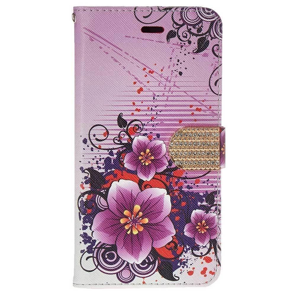 Iphone 6 Plus - Hibiscus Flower Shimmering Folding Phone Wallet, Purple for Apple iPhone 6 Plus/iPhone 6s Plus