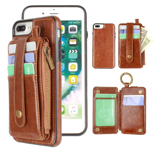 Apple Iphone 8 Plus - Vegan Leather Case with Detachable Card Holder Wallet, Brown for Apple iPhone 7 Plus/iPhone 8 Plus