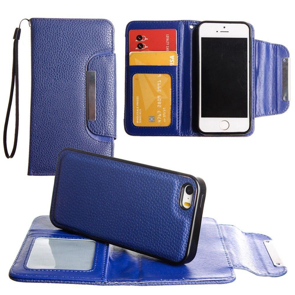 - Compact Wallet Case with Detachable Slim Case, Card Slots and wristlet, Dark Blue for Apple iPhone 7 Plus/iPhone 8 Plus