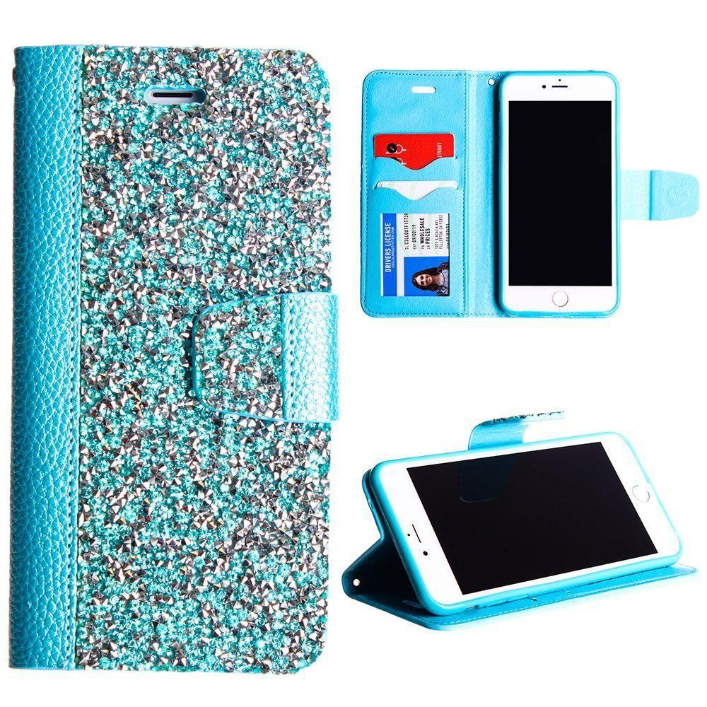- Shimmering Rock Leather Folding Wallet Case and Stand, Baby Blue for Apple iPhone 7 Plus/iPhone 8 Plus