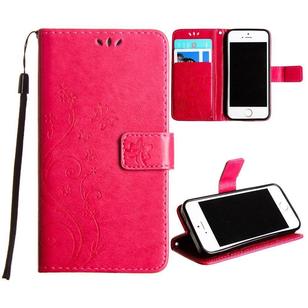 - Embossed Butterfly Design Leather Folding Wallet Case with Wristlet, Hot Pink for Apple iPhone 5/iPhone 5s/iPhone SE