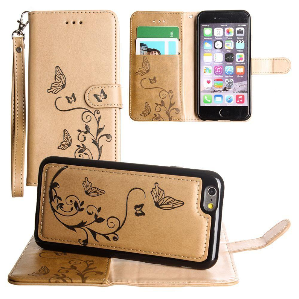 - Embossed Butterfly Design Wallet Case with Detachable Matching Case and Wristlet, Taupe for Apple iPhone 6/iPhone 6s/iPhone 7/iPhone 8