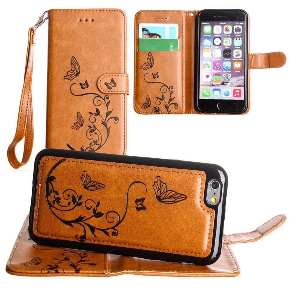 - Embossed Butterfly Design Wallet Case with Detachable Matching Case and Wristlet, Brown for Apple iPhone 6/iPhone 6s/iPhone 7/iPhone 8