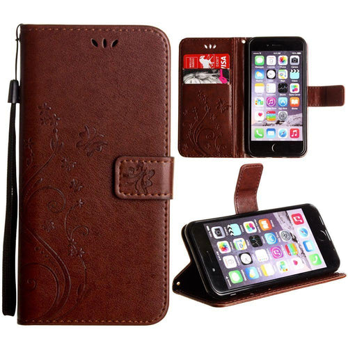 Clearance Accessories - Embossed Butterfly Design Leather Folding Wallet Case with Wristlet, Coffee for Apple iPhone 6/iPhone 6s/iPhone 7/iPhone 8