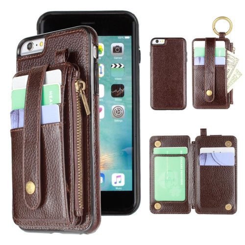 Apple Iphone 6 - Vegan Leather Case with Detachable Card Holder Wallet, Dark Brown for Apple iPhone 6/iPhone 6s