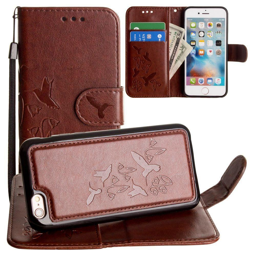 - Embossed Humming Bird Design Wallet Case with Matching Removable Case and Wristlet, Brown for Apple iPhone 6/iPhone 6s/iPhone 7/iPhone 8