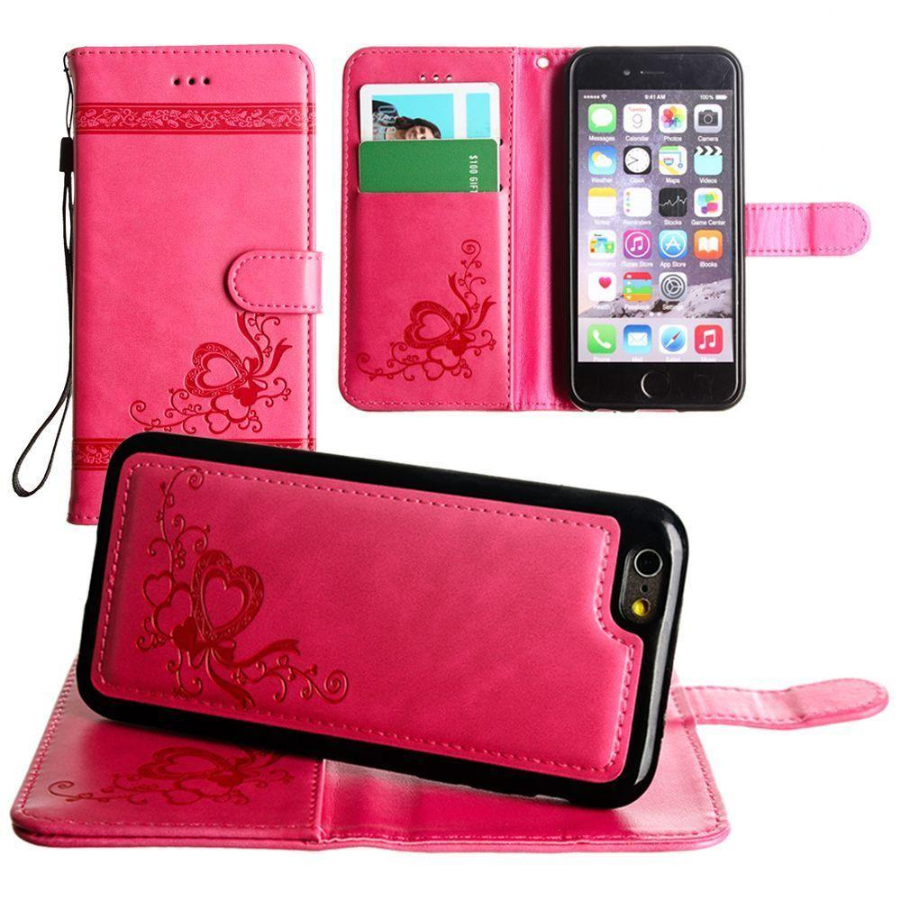 - Embossed heart vine design wallet case with detachable matching case, Hot Pink for Apple iPhone 6/iPhone 6s/iPhone 7/iPhone 8