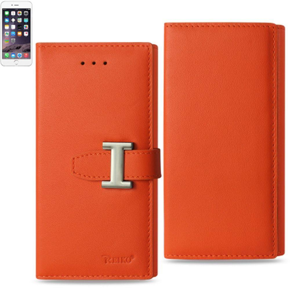 - Premium Genuine Leather Compact Buckle Wallet Case with RFID, Orange for Apple iPhone 6/iPhone 6s