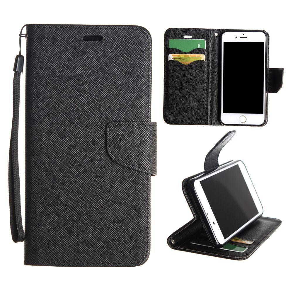 - Premium 2 Tone Leather Folding Wallet Case, Black for Apple iPhone 7/iPhone 8