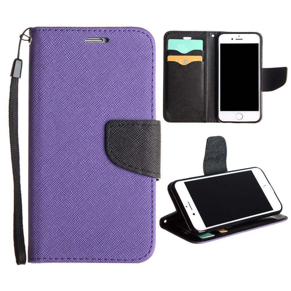 - Premium 2 Tone Leather Folding Wallet Case, Purple/Black for Apple iPhone 7/iPhone 8