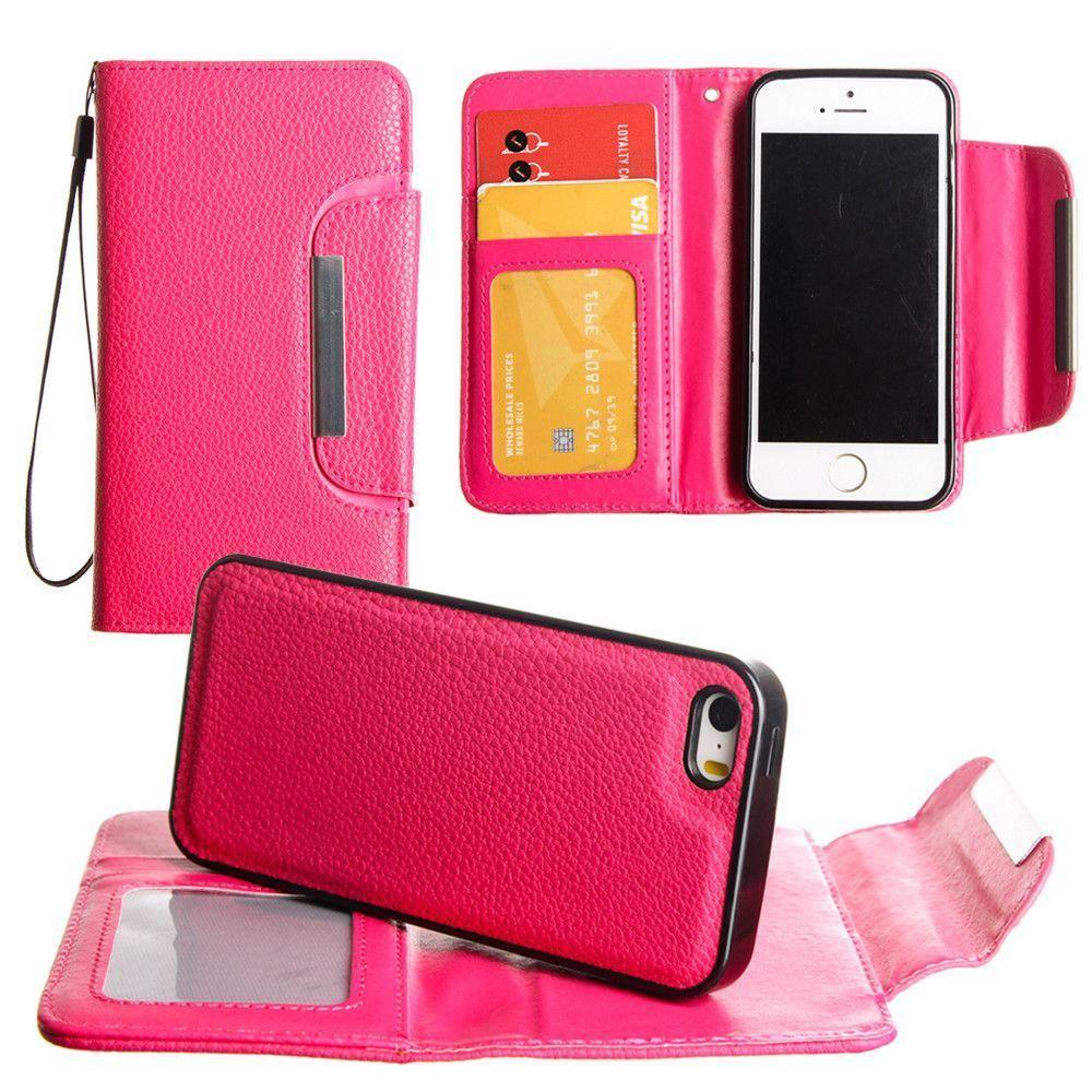 - Compact Wallet Case with Detachable Slim Case, Card Slots and wristlet, Hot Pink for Apple iPhone 7/iPhone 8