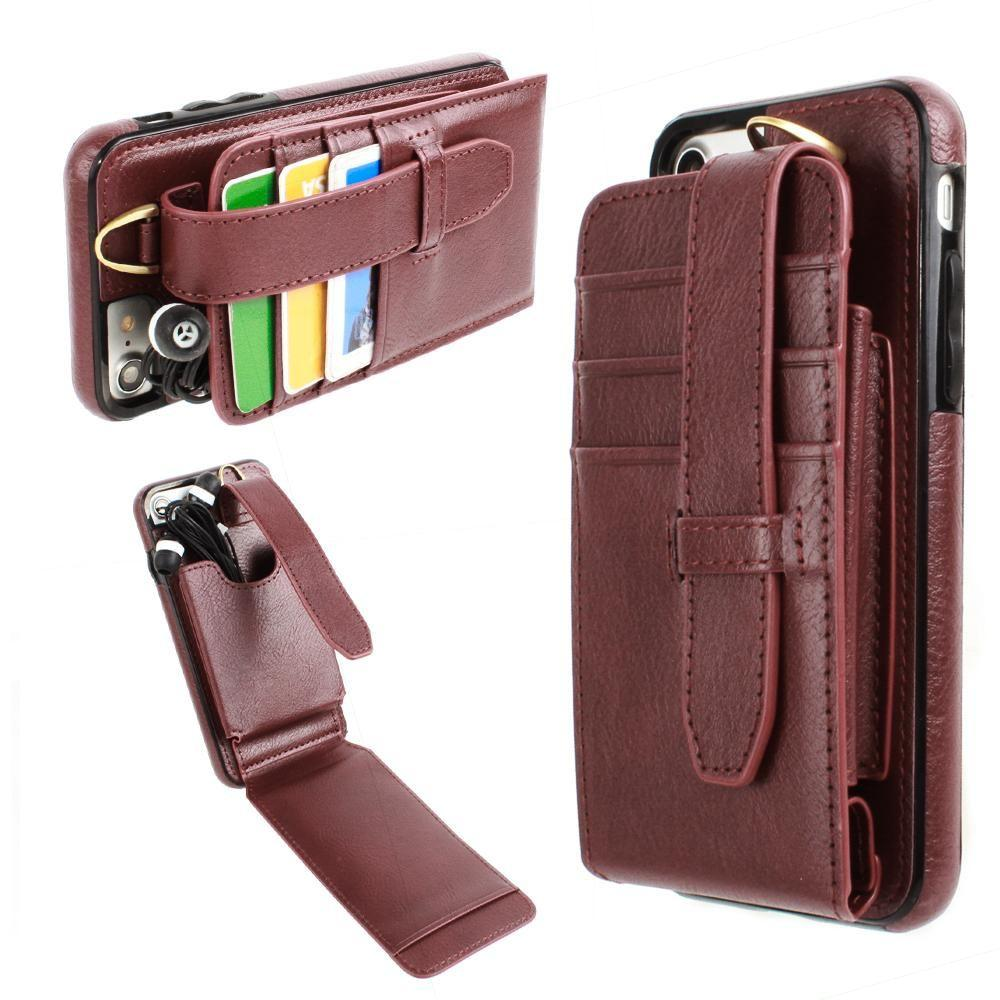 - Faux Leather Wallet Case with Card Pockets and Strap, Maroon for Apple iPhone 7/iPhone 8