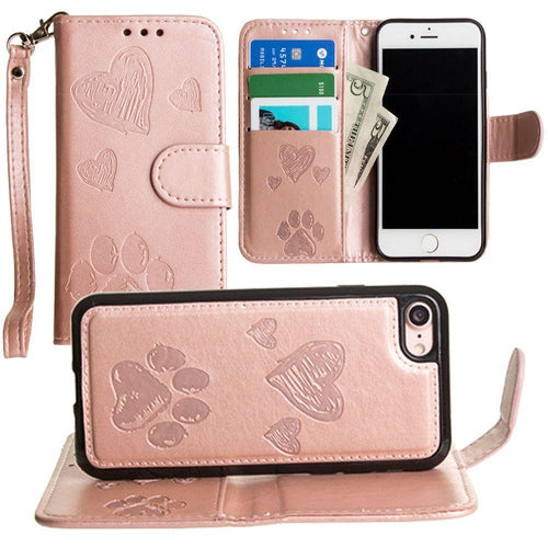 Apple Iphone 6 - Puppy Love Wallet with Matching Detachable Magnetic Phone Case and Wristlet, Rose Gold for Apple iPhone 6/iPhone 6s/iPhone 7/iPhone 8