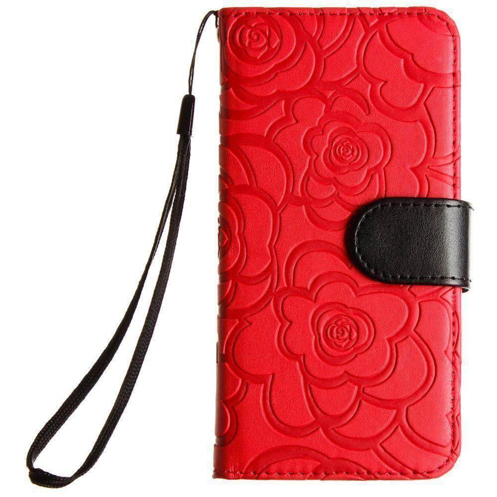 - Embossed Flower Design Folding Wallet Case with Wristlet strap, Red/Black for Apple iPhone 7/iPhone 8