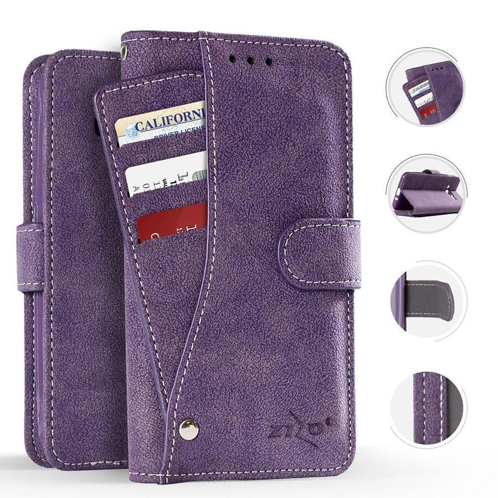 - Leather Folding Wallet Case with Slide out Card Holder, Purple for Apple iPhone X