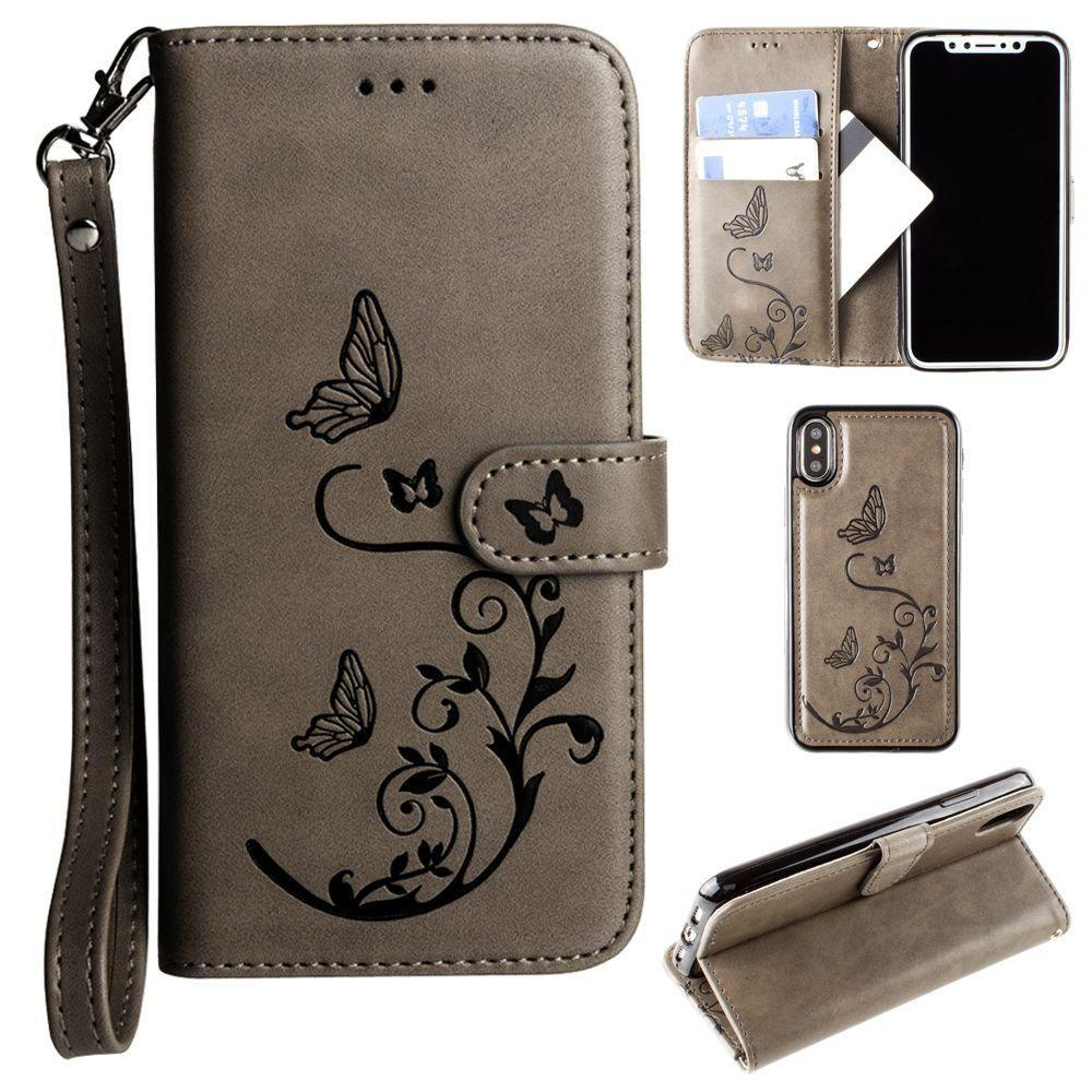 - Embossed Butterfly Design Wallet Case with Detachable Matching Case and Wristlet, Gray for Apple iPhone X
