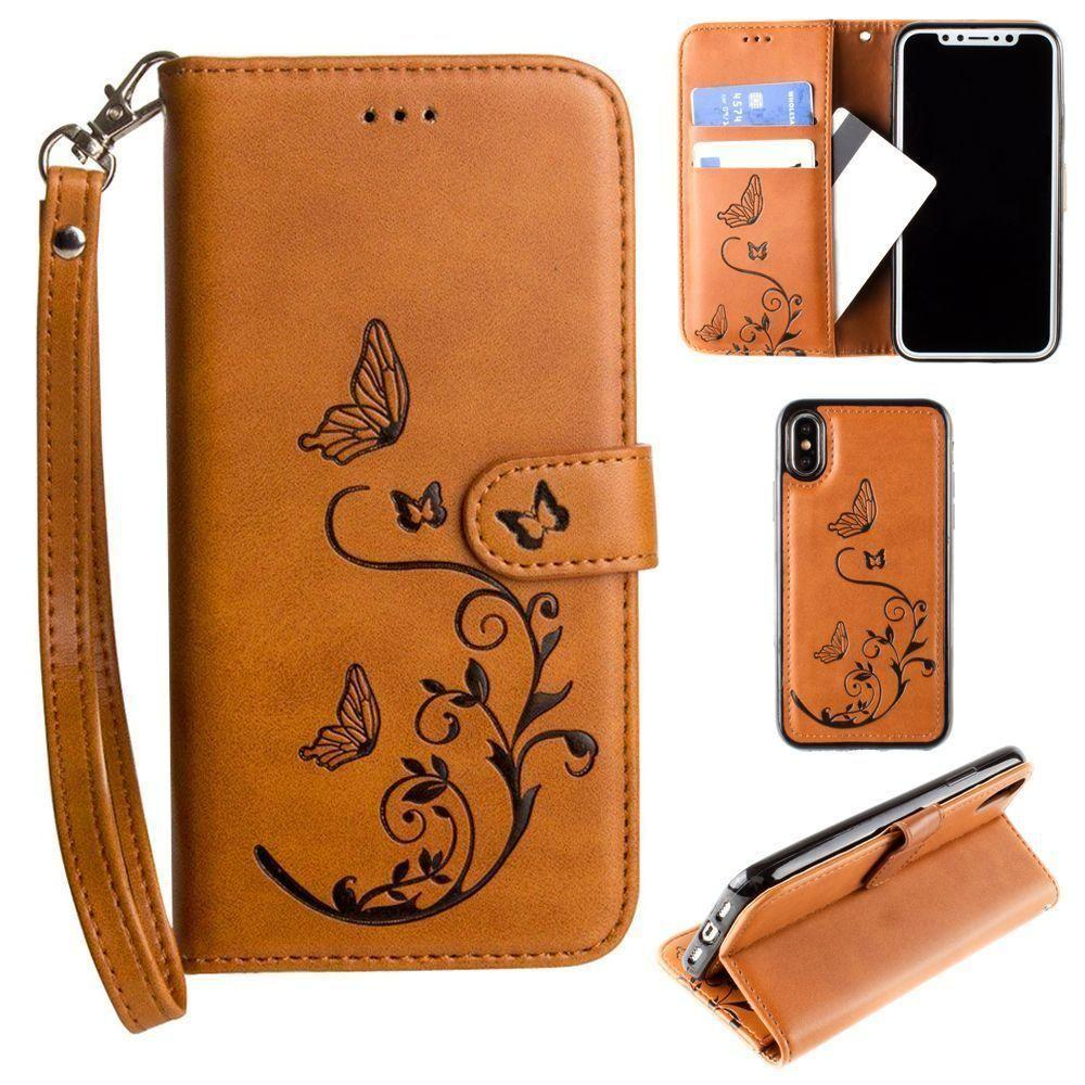 - Embossed Butterfly Design Wallet Case with Detachable Matching Case and Wristlet, Brown for Apple iPhone X