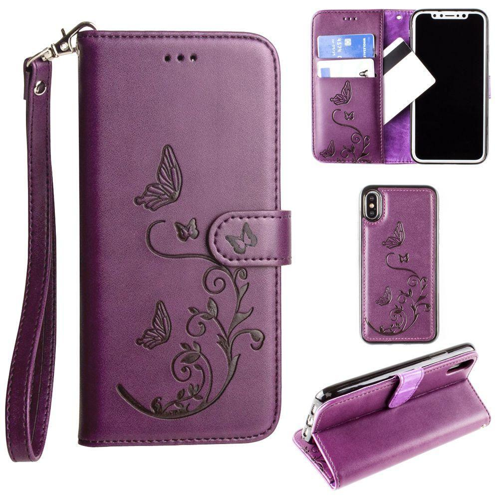 - Embossed Butterfly Design Wallet Case with Detachable Matching Case and Wristlet, Purple for Apple iPhone X