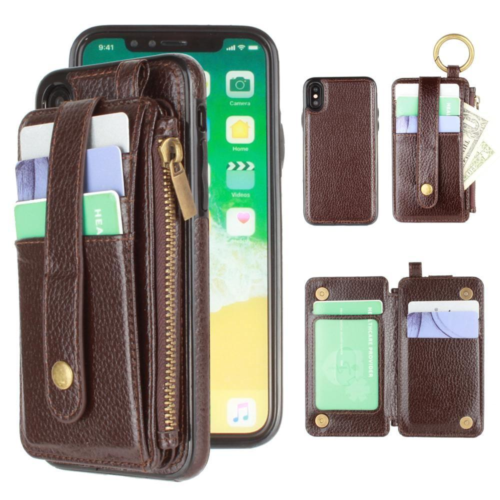 - Vegan Leather Case with Detachable Card Holder Wallet, Dark Brown for Apple iPhone X