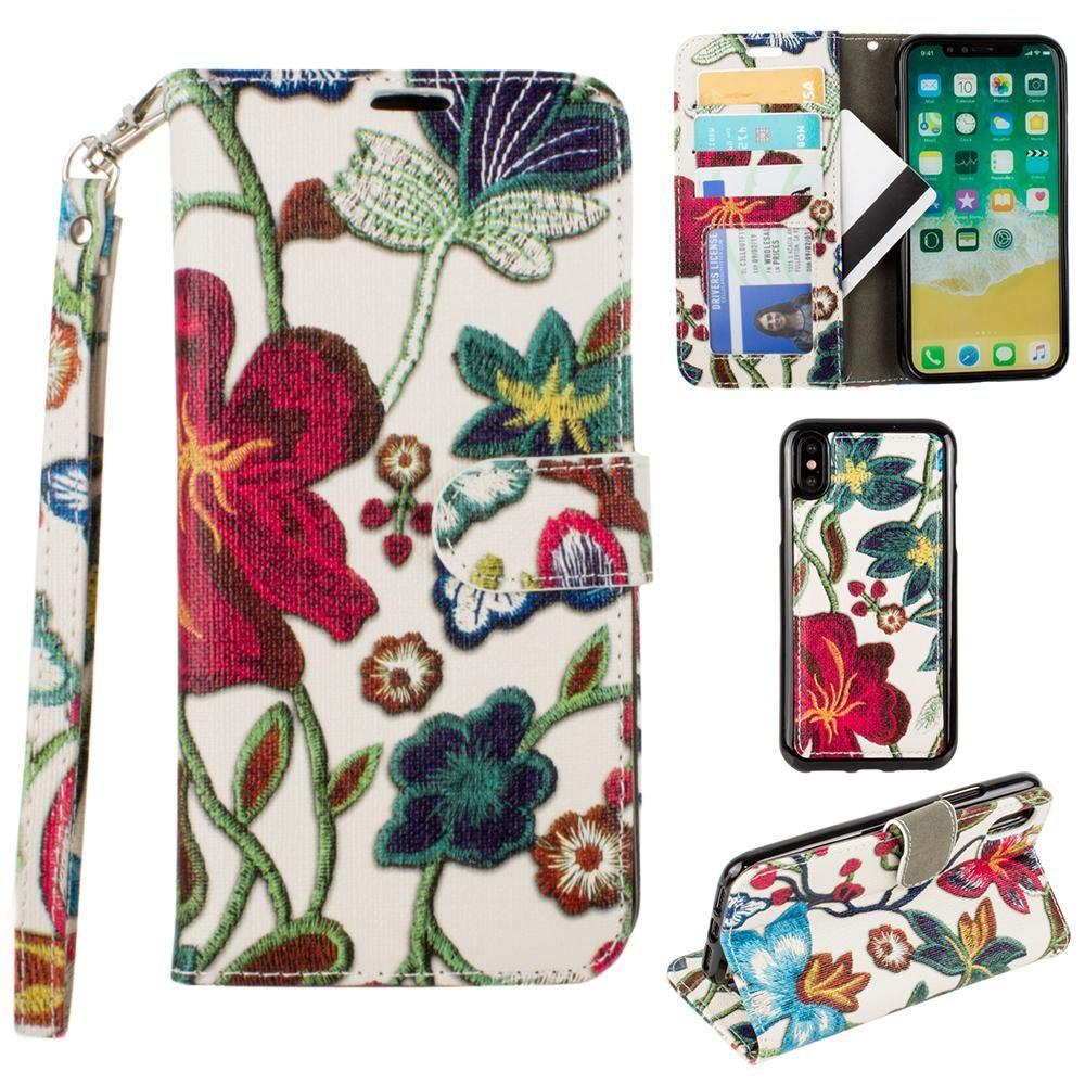 - Faux Embroidery Printed Floral Wallet Case with detachable matching slim case and wristlet, Multi-Color for Apple iPhone X