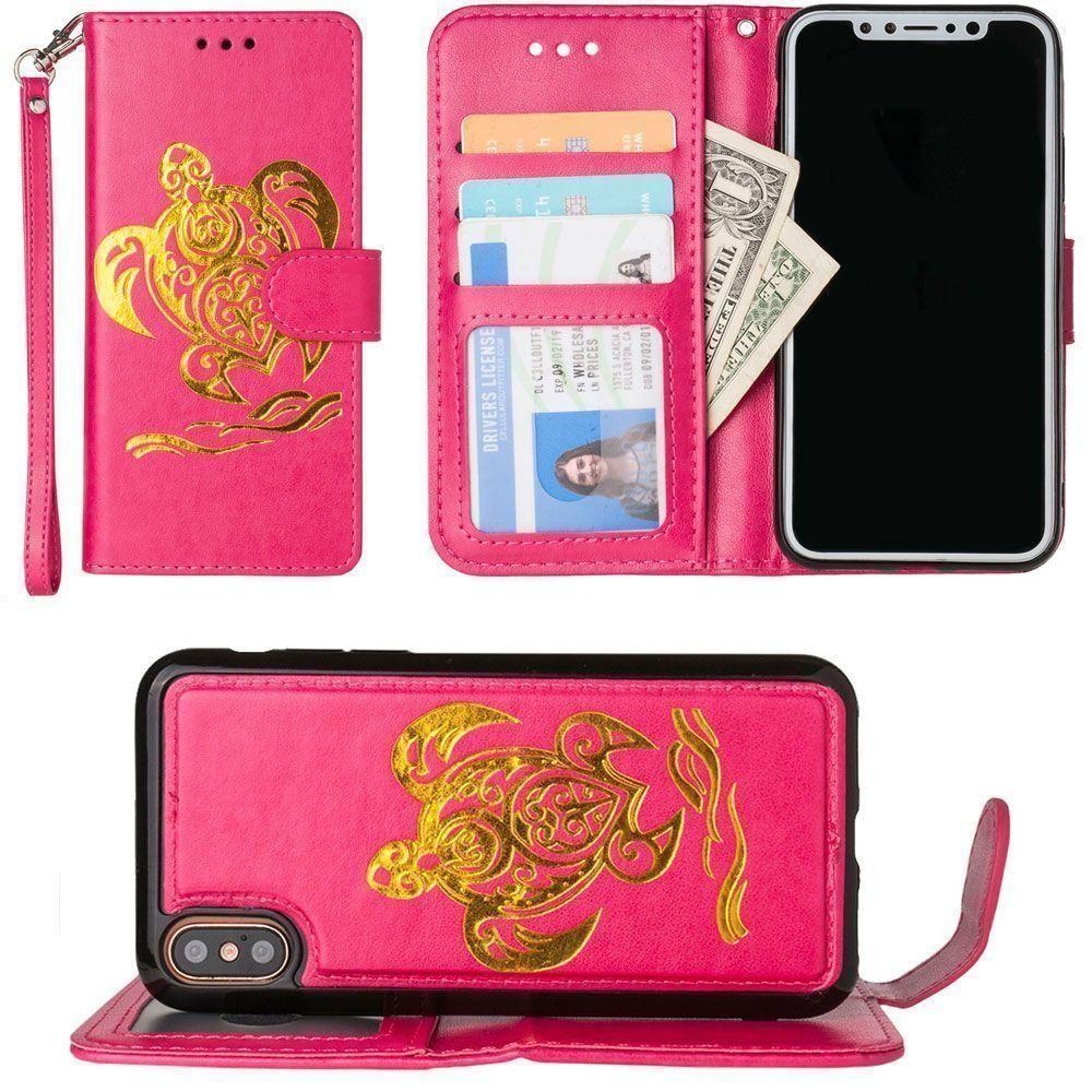 - Embossed Golden Sea Turtle Wallet with Detachable Matching Slim Case and Wristlet, Hot Pink/Gold for Apple iPhone X