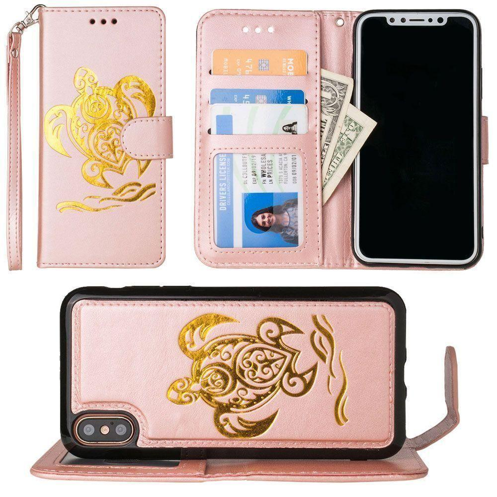 - Embossed Golden Sea Turtle Wallet with Detachable Matching Slim Case and Wristlet, Rose Gold/Gold for Apple iPhone X