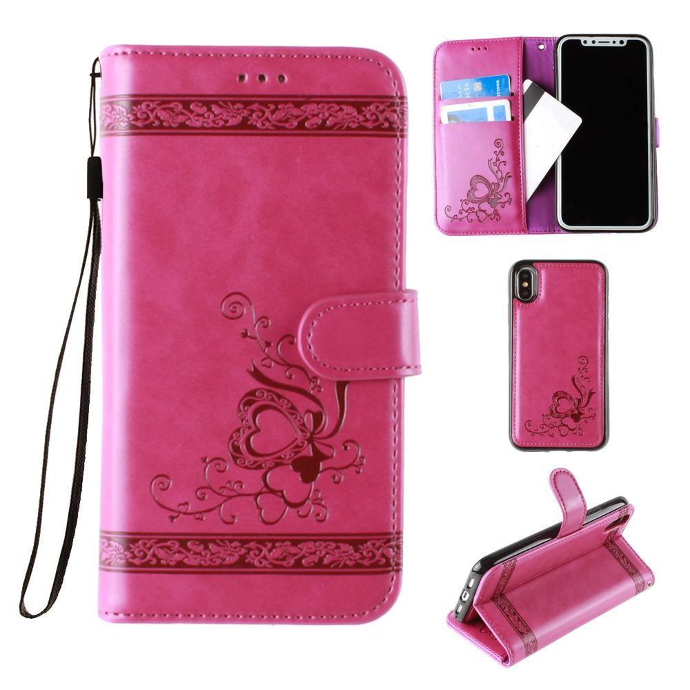 - Embossed heart vine design wallet case with detachable matching case, Fuchsia for Apple iPhone X