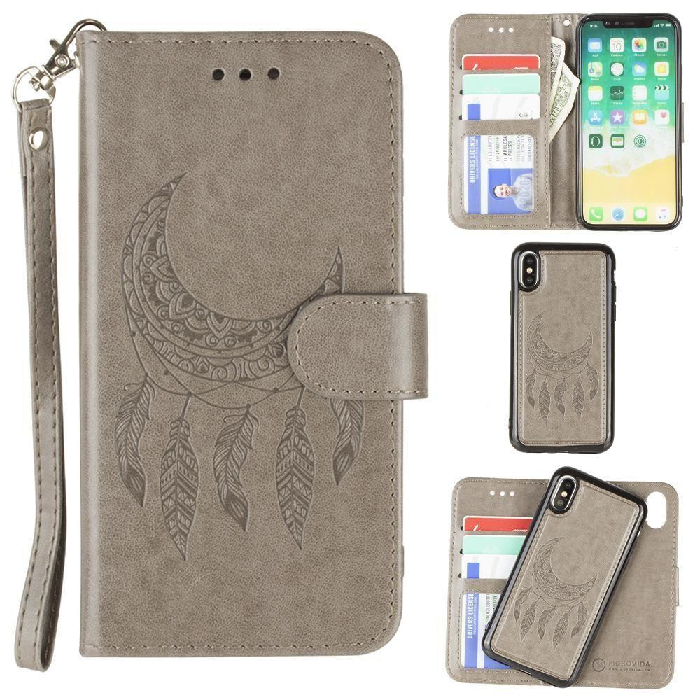 - Embossed Moon Dream Catcher Design Wallet Case with Detachable Matching Case and Wristlet, Gray for Apple iPhone X