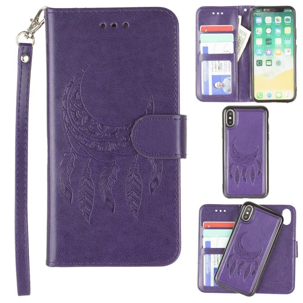 - Embossed Moon Dream Catcher Design Wallet Case with Detachable Matching Case and Wristlet, Purple for Apple iPhone X