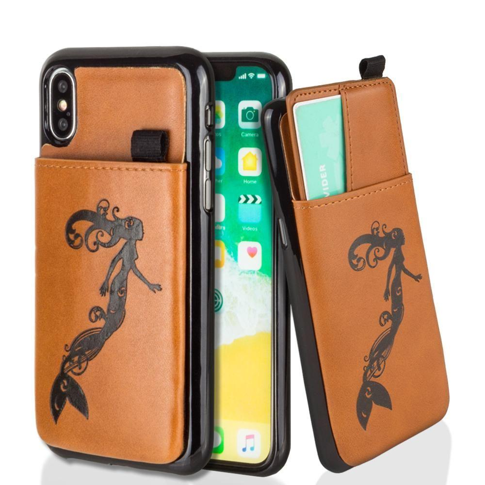 - Embossed Mermaid Leather Case with Pull-Out Card Slot Organizer, Taupe for Apple iPhone X