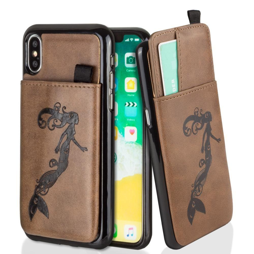 - Embossed Mermaid Leather Case with Pull-Out Card Slot Organizer, Brown for Apple iPhone X