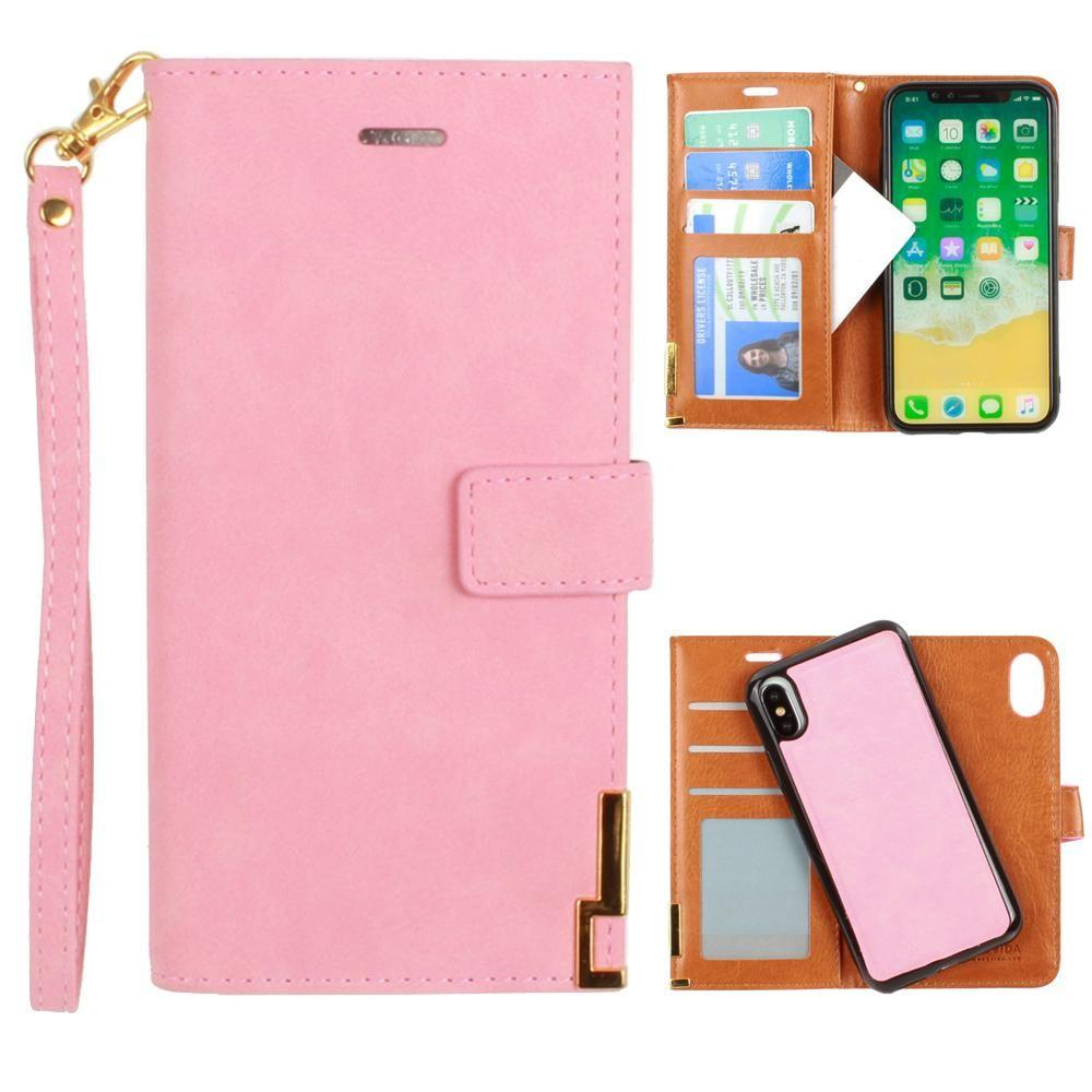 - Ultrasuede metal trimmed wallet with removable slim case and wristlet, Pink for Apple iPhone X