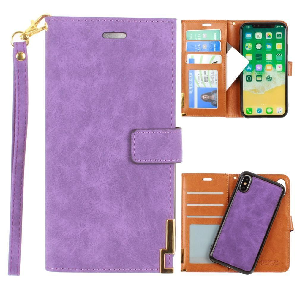 - Ultrasuede metal trimmed wallet with removable slim case and wristlet, Purple for Apple iPhone X