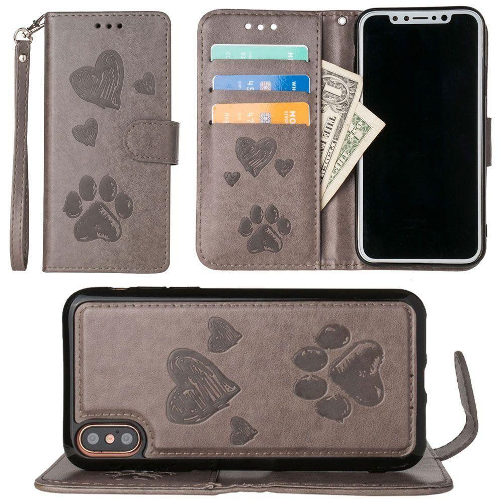 - Puppy Love Wallet with Matching Detachable Magnetic Phone Case and Wristlet, Gray for Apple iPhone X