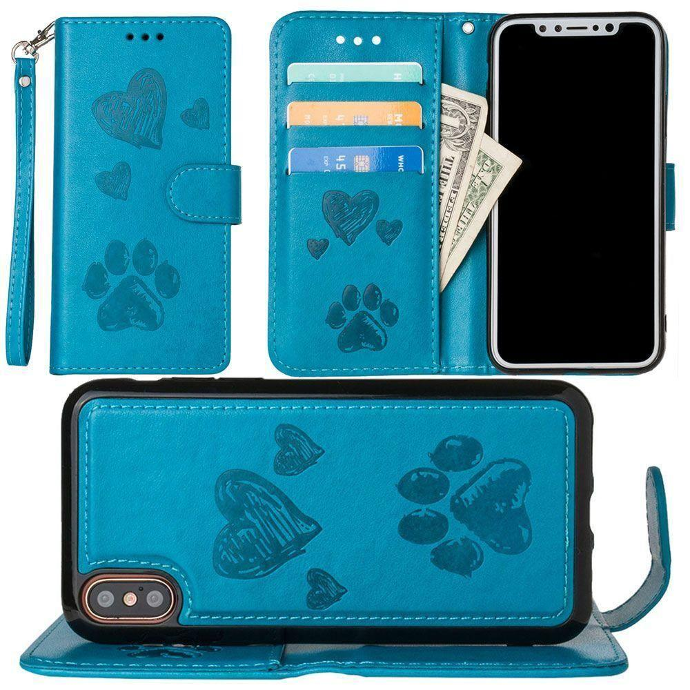 - Puppy Love Wallet with Matching Detachable Magnetic Phone Case and Wristlet, Teal for Apple iPhone X