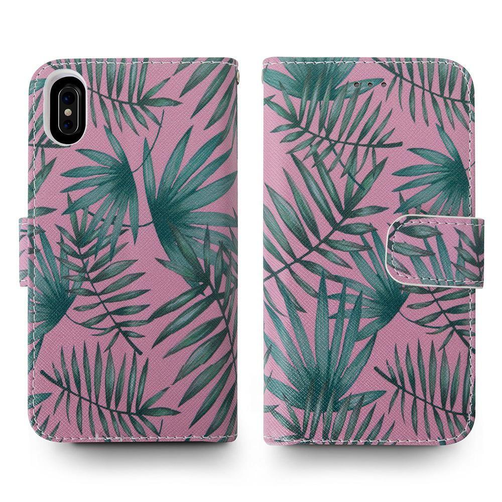 - Palm Leaves Printed Wallet with Matching Detachable Slim Case and Wristlet, Pink/Green for Apple iPhone X